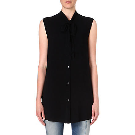 DIESEL Aried pussy-bow sleeveless shirt (Black