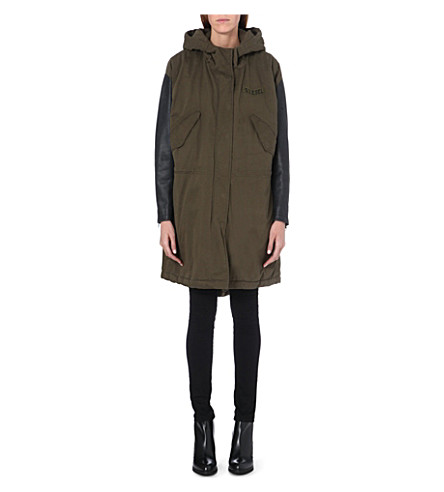 DIESEL Looney cotton and leather parka (Green