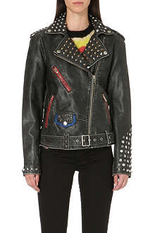 DIESEL Alfie studded leather biker jacket