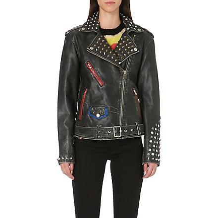 DIESEL Alfie studded leather biker jacket (Black