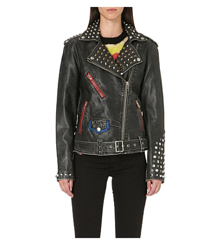 DIESEL Alfie studded leather biker jacket (Black