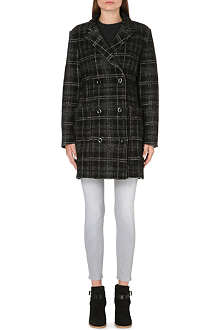 DIESEL Checked wool-blend coat