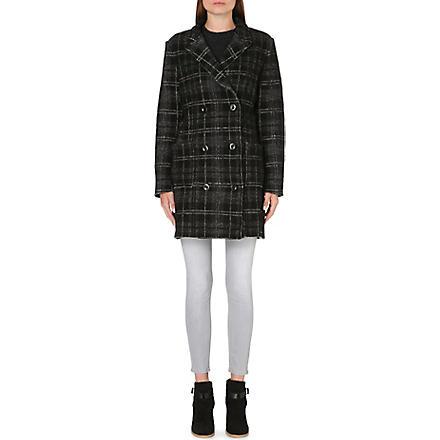 DIESEL Checked wool-blend coat (Black