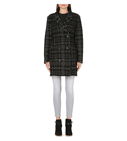 DIESEL Checked wool-blend coat (Black