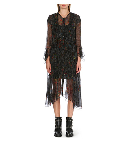 DIESEL Floral chiffon dress (Black