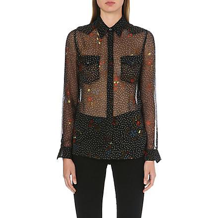 DIESEL Semi-sheer floral chiffon shirt (Black