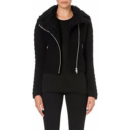 DIESEL Cable-knit detail biker jacket (Black