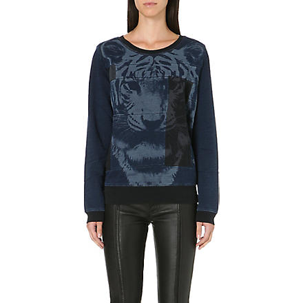 DIESEL Tiger patchwork sweatshirt (Denim