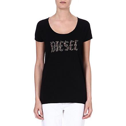 DIESEL Embellished jersey t-shirt (Black