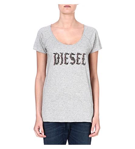 DIESEL Embellished jersey t-shirt (Khaki