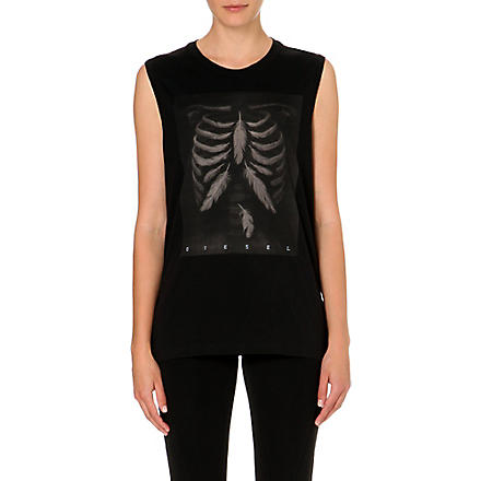 DIESEL Triton feather-print vest (Black