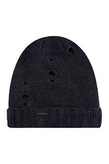 DIESEL Damaged knitted beanie hat