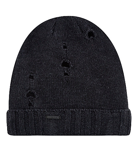 DIESEL Damaged knitted beanie hat (Black