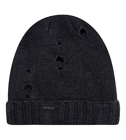 DIESEL Damaged knitted beanie hat (Black