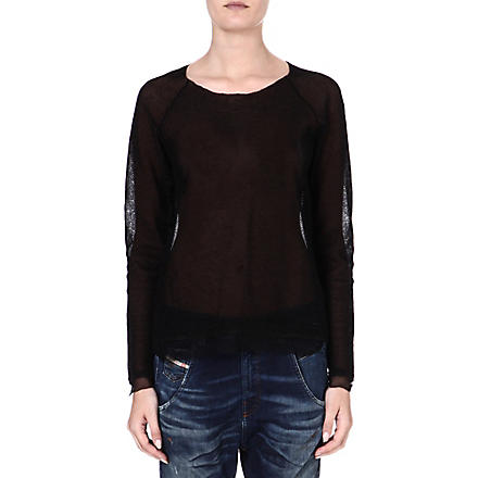 DIESEL Semi-sheer crepe top (Black