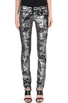 DIESEL Coated skinny mid-rise jeans