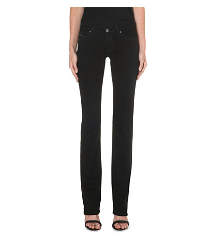DIESEL BLACK GOLD Straight-leg mid-rise jeans (Black