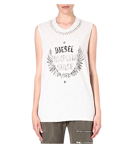 DIESEL Triton cut-out jersey top (Grey