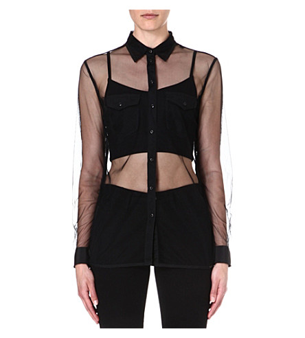 DIESEL Miraa sheer mesh shirt (Black