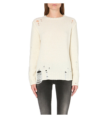 DIESEL Distressed alpaca-blend jumper (White