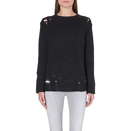 DIESEL Distressed alpaca-blend jumper (Black