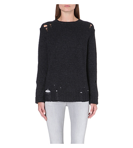 DIESEL Distressed alpaca-blend jumper (Black