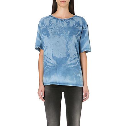 DIESEL Tlulad tiger-print t-shirt (Denim