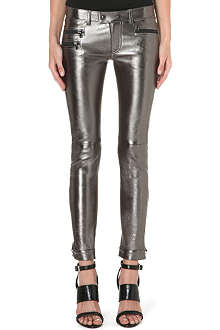 DIESEL Panker cropped skinny leather trousers