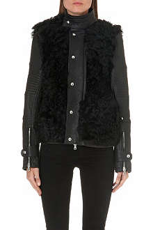 DIESEL Lessfur shearling-panel leather jacket