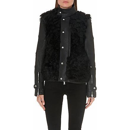 DIESEL Lessfur shearling-panel leather jacket (Black