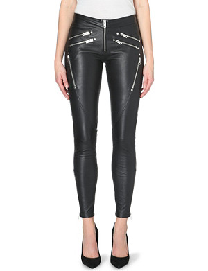 DIESEL Yasmin leather skinny mid-rise zip pocket trousers