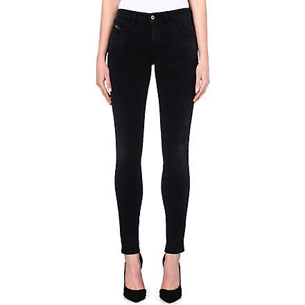 DIESEL Skinzee skinny mid-rise distressed jeans (Black