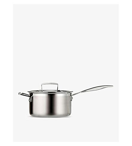le creuset 3 ply stainless steel saucepan with lid 20cm. Black Bedroom Furniture Sets. Home Design Ideas