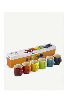LE CREUSET Set of six rainbow espresso mugs