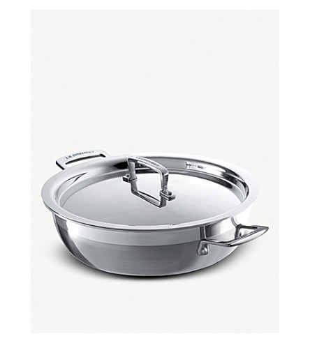 LE CREUSET Shallow 26cm three-ply stainless steel casserole dish