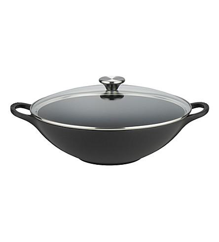 LE CREUSET Cast iron 32cm wok (Satin+black