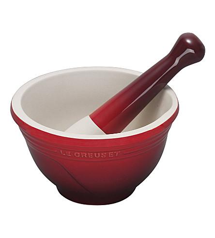 LE CREUSET Stoneware pestle and mortar (Cerise