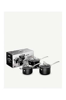 LE CREUSET Toughened Non-Stick set of three saucepans 16cm, 18cm and 20cm
