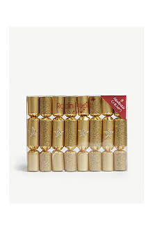 ROBIN REED Box of eight gold glitter stars mini Christmas crackers