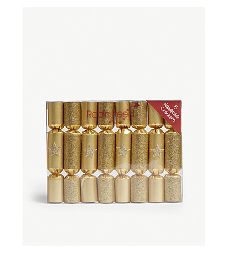 CRACKERS Box of eight gold glitter stars mini Christmas crackers