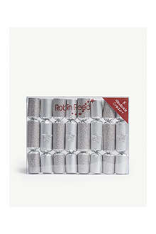 ROBIN REED Box of eight Silver glitter star mini Christmas crackers