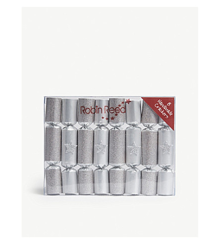 Box of eight Silver glitter star mini Christmas crackers