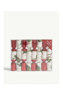 ROBIN REED Box of eight bows and berries mini Christmas crackers
