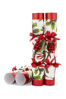 ROBIN REED Box of 8 bows and berries novelty crackers