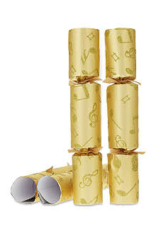 ROBIN REED Box of 8 gold glitter musical crackers