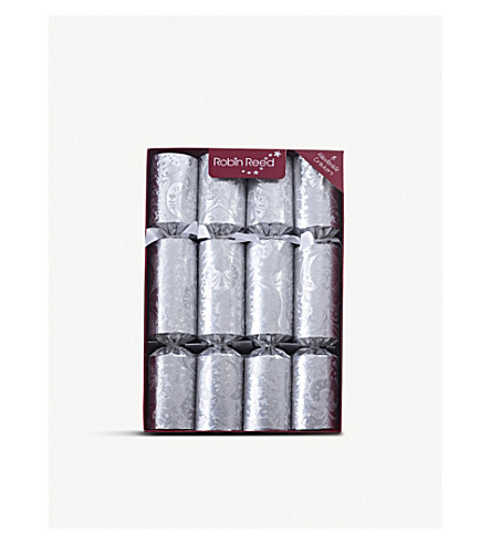 ROBIN REED Box of eight silver Fill Your Own Christmas crackers