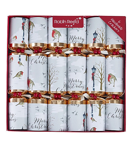 CRACKERS Merry Christmas Robin crackers 12 x 12""