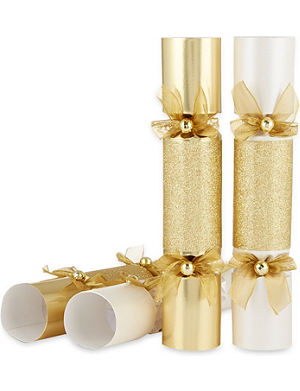 CELEBRATION CRACKERS Gold and pearl disco crackers box of 6