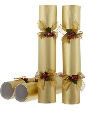 CELEBRATION CRACKERS Gold pin luxury Christmas crackers 6-pack