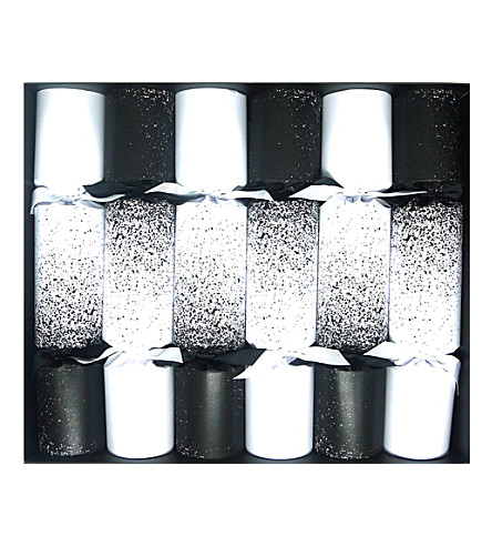 CRACKERS Black & white speckle Christmas crackers pack of six